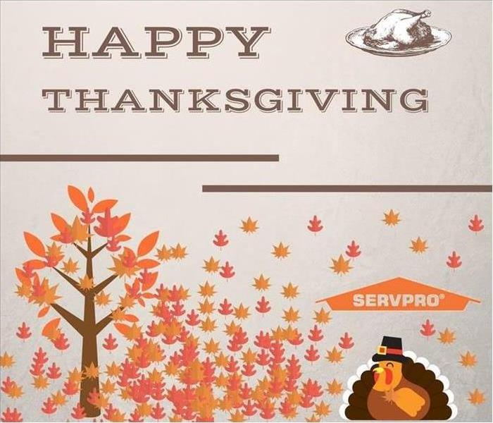"A picture of autumn leaves with a picture of a turkey and the words ""Happy Thanksgiving."""